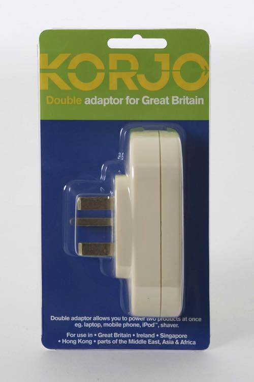 Double Electrical Adaptor: AU to UK / Great Britain: Korjo